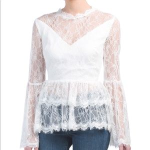 Ina lace babydoll tiered long sleeve top small